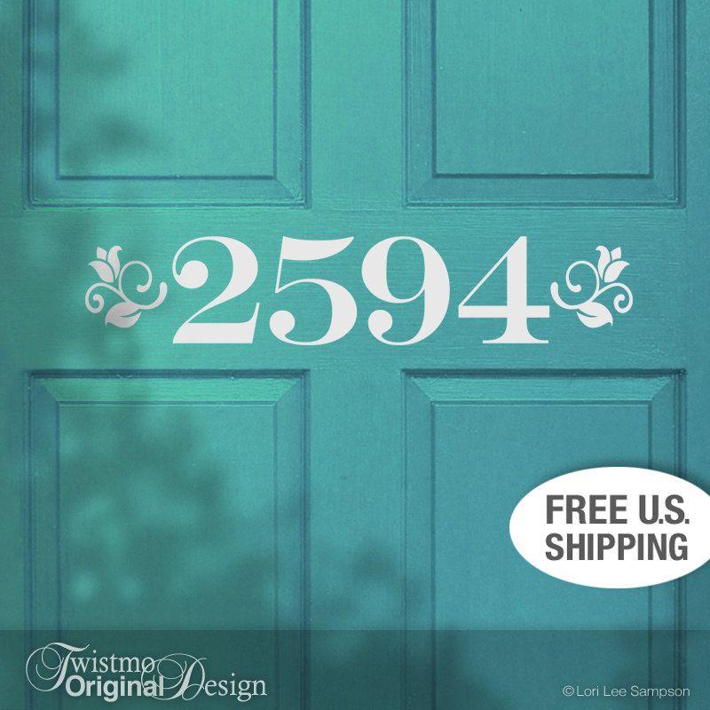 Custom House Number Removable Vinyl Door Decal In Floral Accent - Custom removable vinyl decals