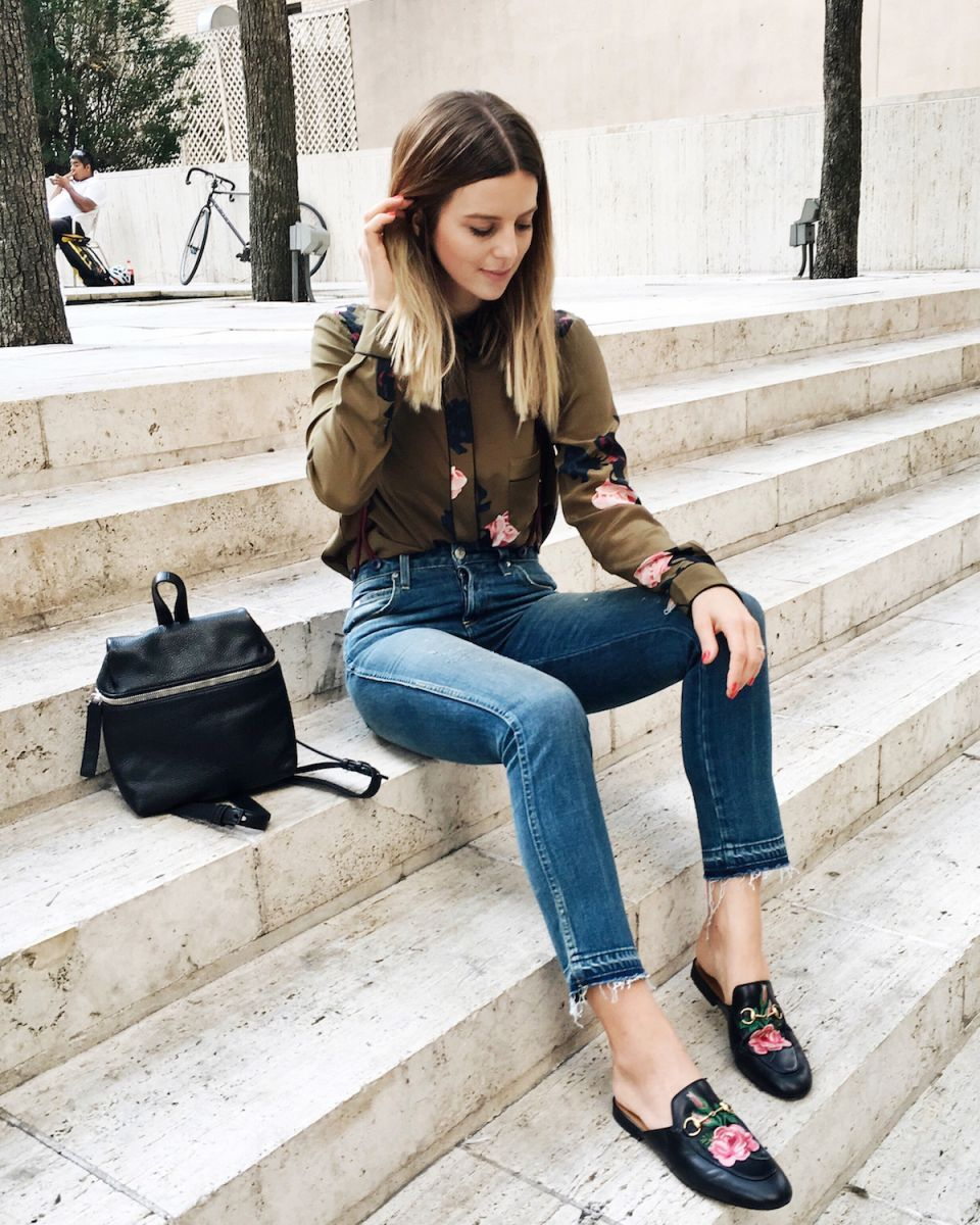 Classically chic + editorial mash up: Gucci mule loafers, roses, Gucci garden, camo shirt, cute spring outfits, transitional spring outfits