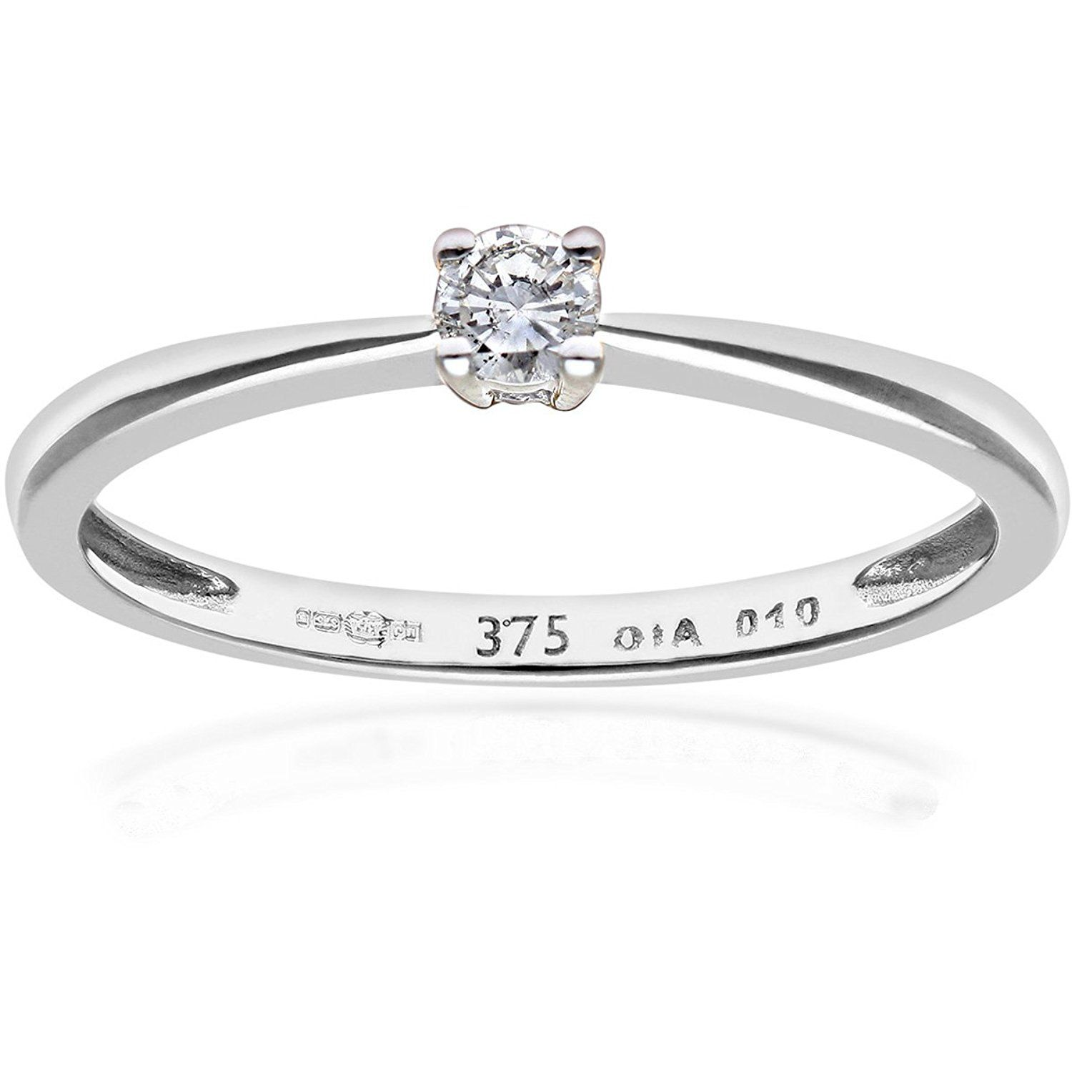 Naava 9 ct Gold Round Brilliant IJ/I Certified Diamond Solitaire Engagement Ring kKcwVGanW