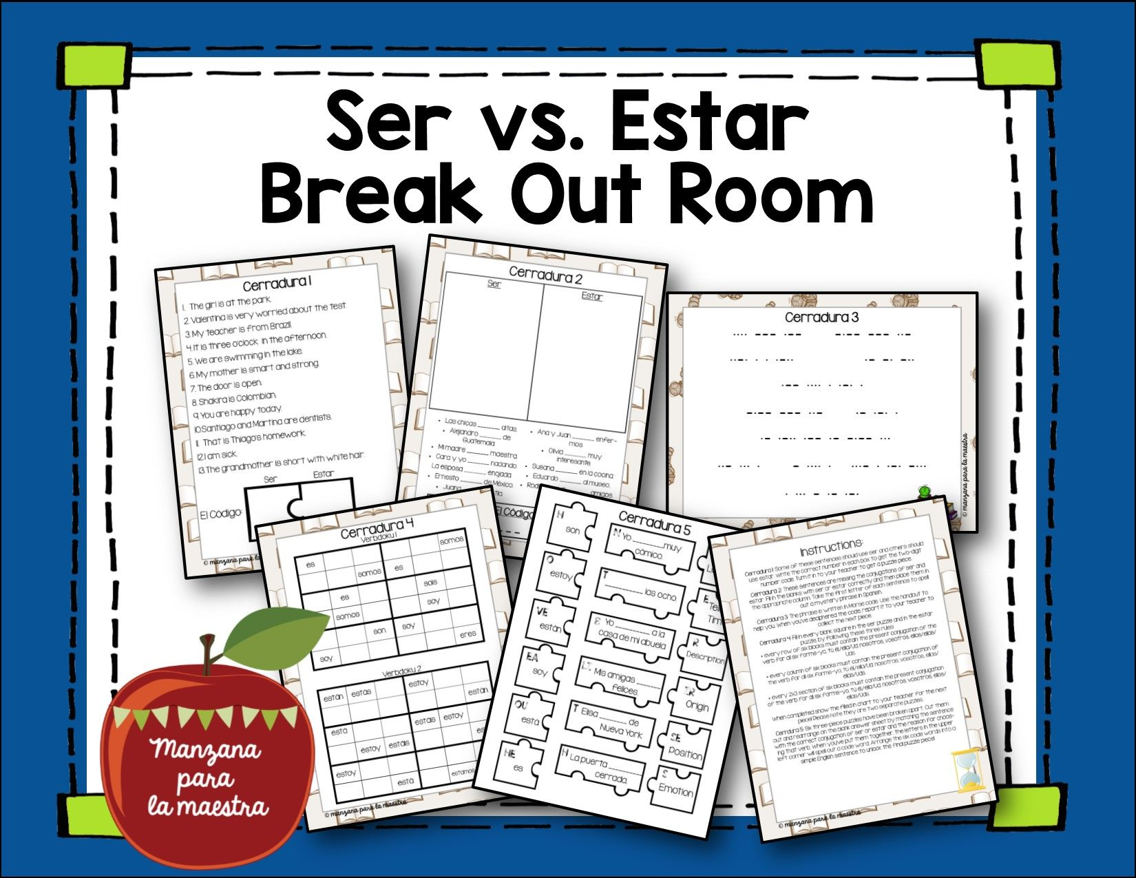 Distance Learning Ser Vs Estar Editable Break Out Escape