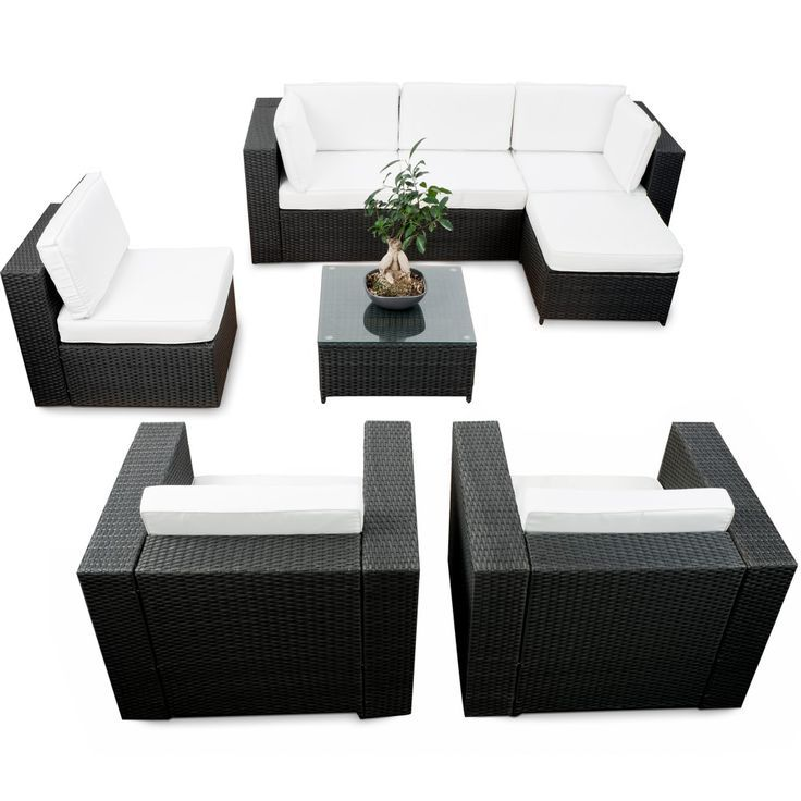 modulares 24tlg. Gartenmöbel Polyrattan Lounge Eck Set XXL ...