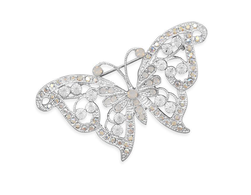 Clear Swarovski Crystal Butterfly Fashion Pin