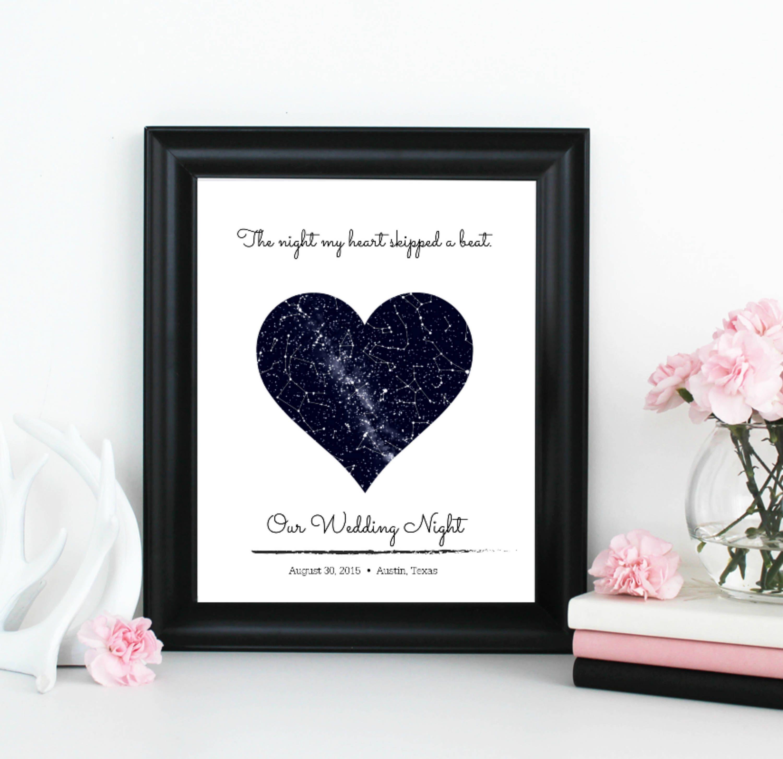 Custom Star Map Constellation Print Personalized Nursery Art Wedding Anniversary Gift