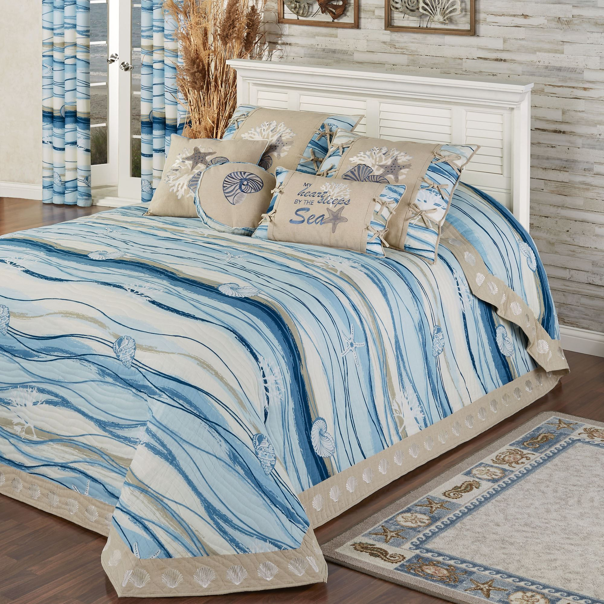 Coastal view reversible quilted oversized bedspread bed