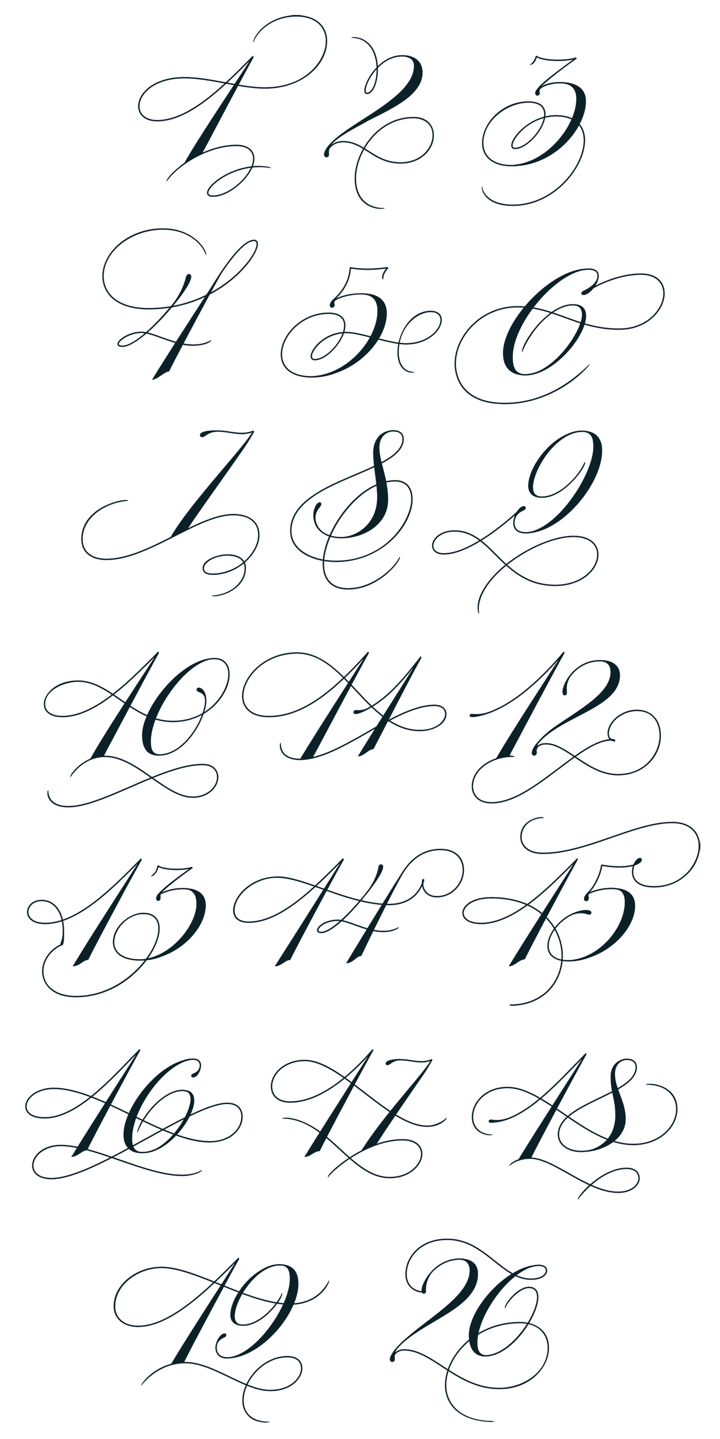 Copperplate Calligraphy Font Free 1 20 Figures By Martina Flor Pinned By Megwise It Megwise