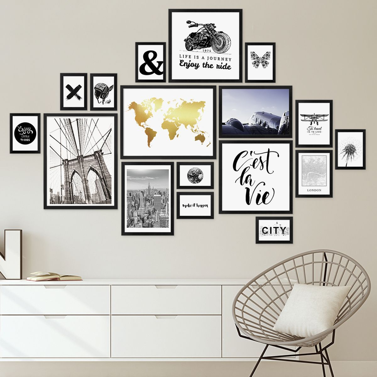 Set Of 17 Modern Black Picture Frames Made Of Mdf 10 15 To 30 40 Cm Picture Gallery Picture Wall Bilderrahmen Set Bilderrahmen Wande Bilderwand Gestalten