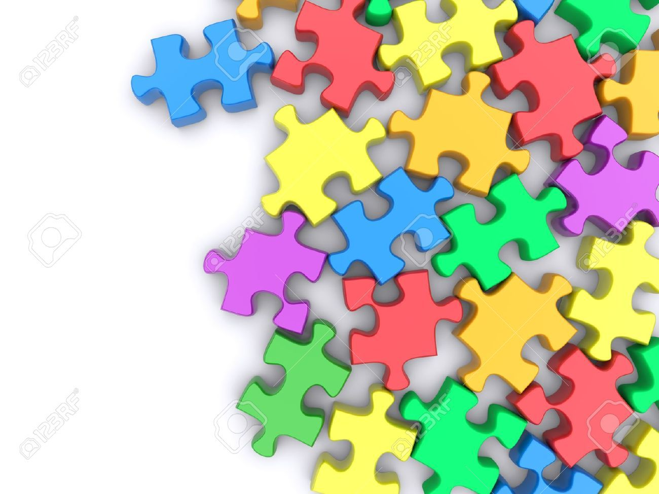 Jigsaw Puzzle On A White Background 3d Rendered Image Stock Photo