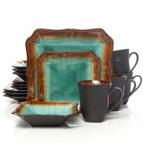 Gibson Elite Regal Weave 16-Piece Dinnerware Set, Jade Green | regal ...