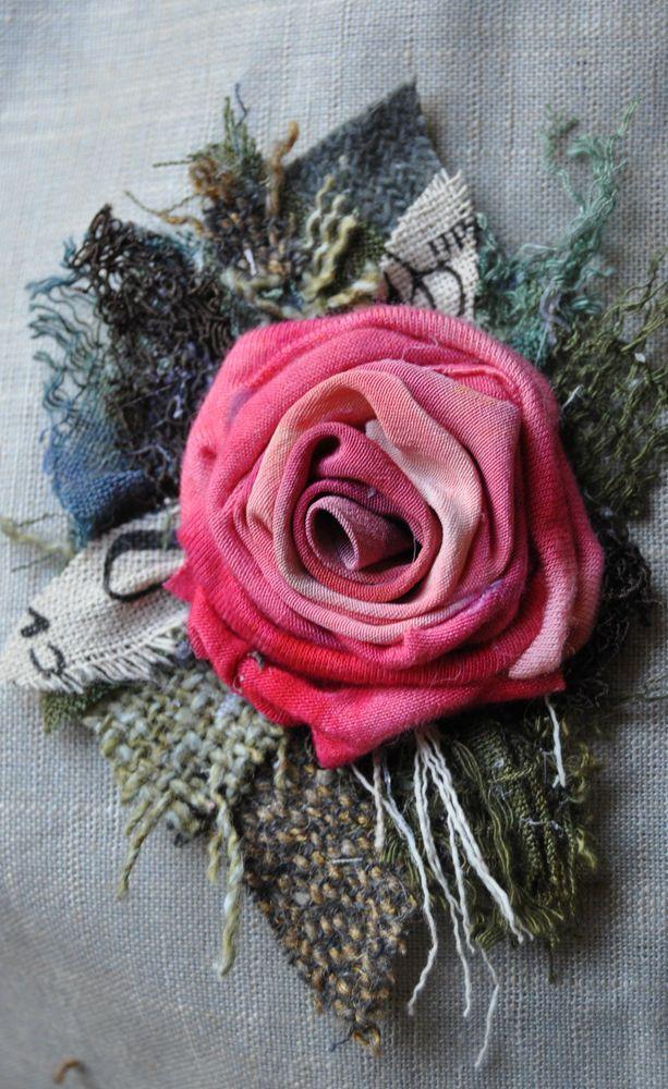handdyed silk ROSE pink cerise brooch dress cardigan pin