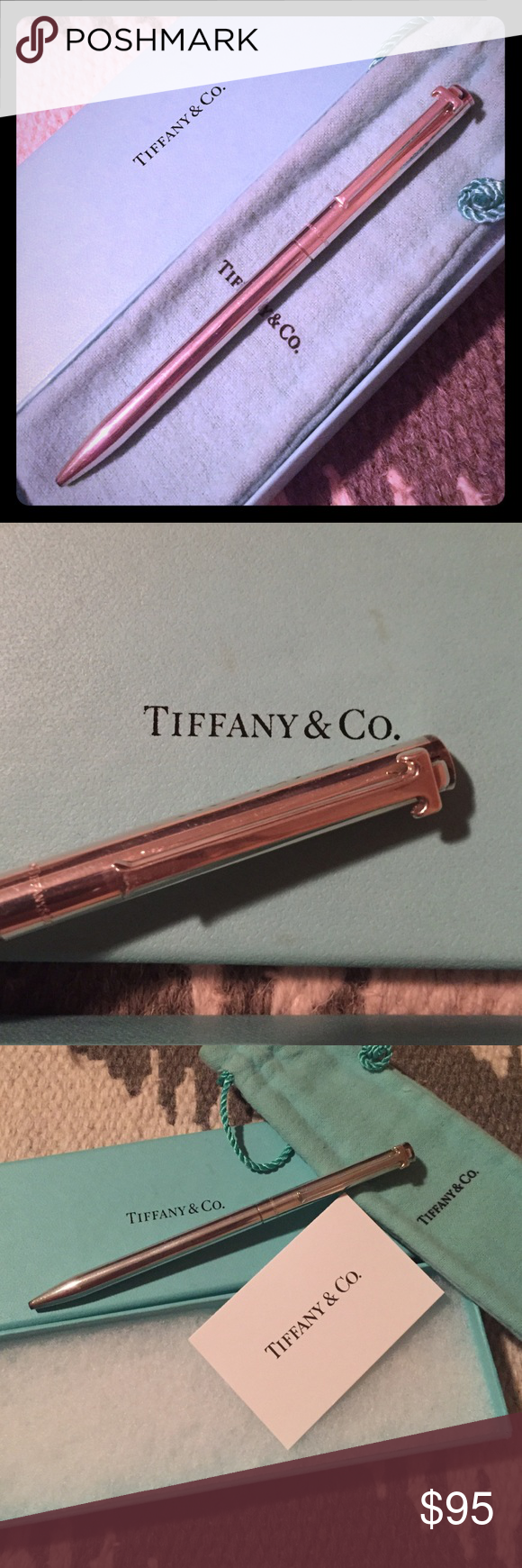 Authentic Tiffany & Co .925 Sterling Silver Pen Authentic Tiffany & Co T clip pen . In .925 sterling silver . With ink working well . With Tiffany & Co engraved on the pen . Loved but still shiny and pretty . Box , pouch and care card included. Tiffany & Co. Accessories