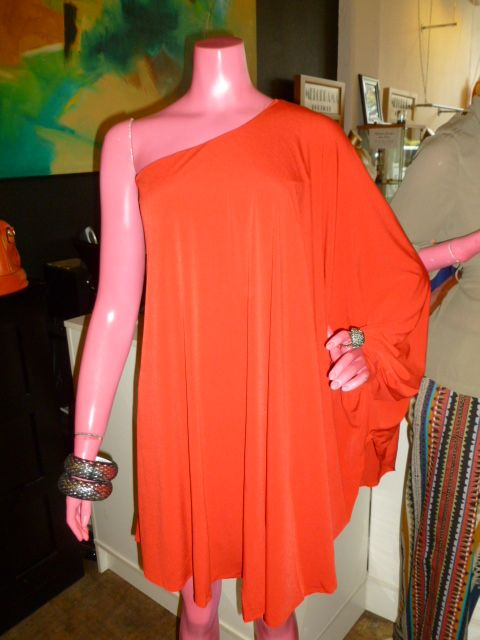 One shoulder batwing sleeve dress in Red!  Great holiday number!