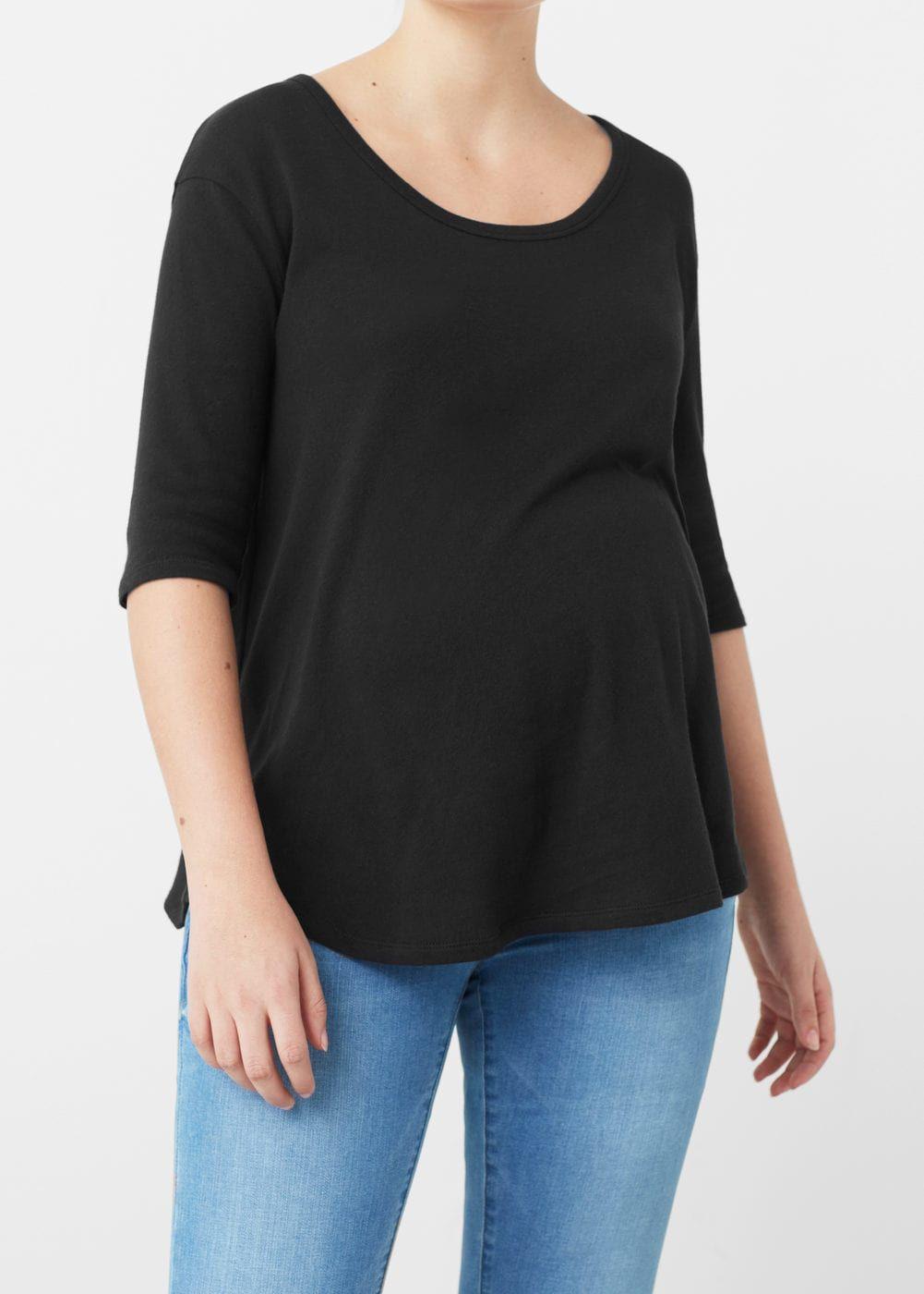 Pamuklu çizgili tişört -  Kadın | MANGO Türkiye