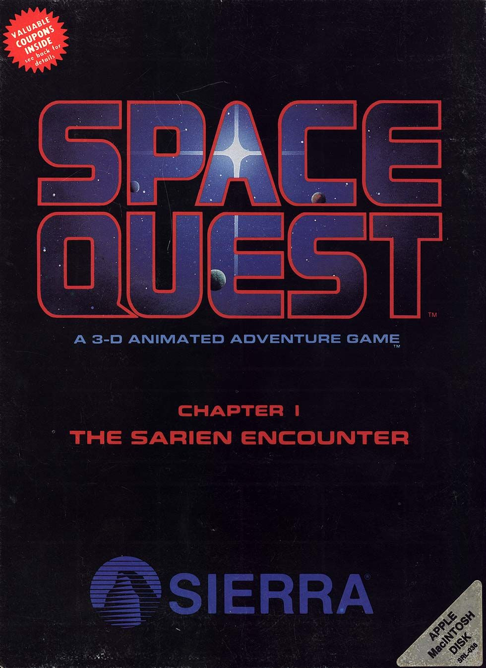 "Original box art for Sierra's 1986 adventure game ""Space"