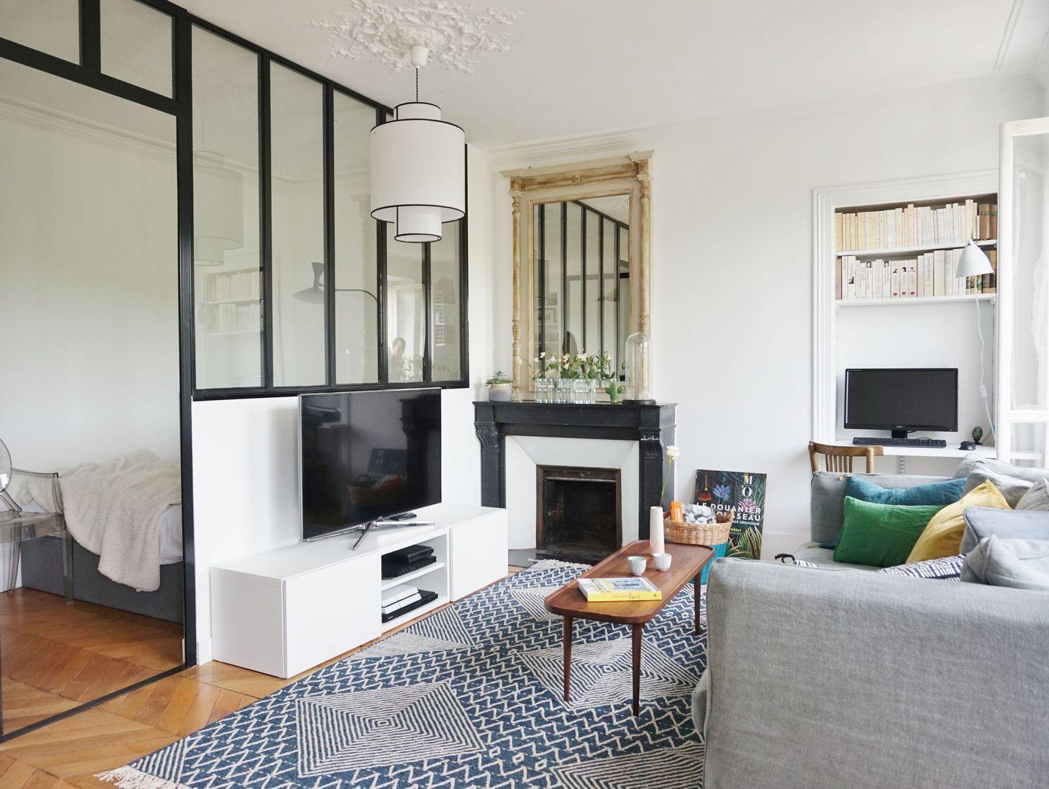 en vid o avant apr s un f2 devenu f3 am nagement studio pinterest meuble tv verri re. Black Bedroom Furniture Sets. Home Design Ideas