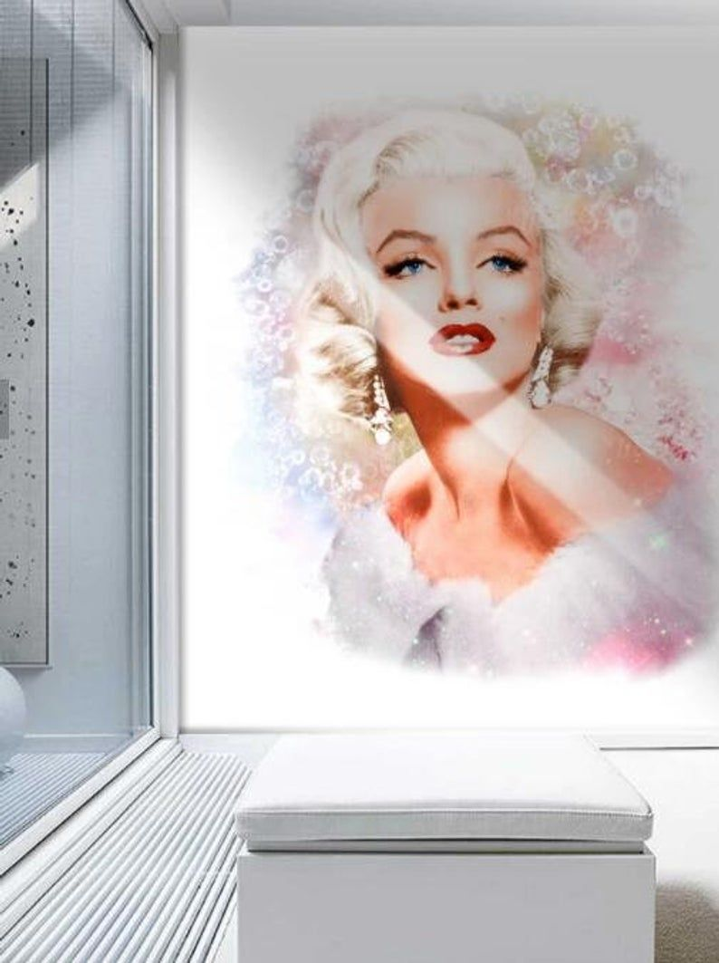 3d Hand Painted Marilyn Monroe Wallpaper Removable Self Etsy Marilyn Monroe Wallpaper Marilyn Monroe Artwork Marilyn Monroe Art