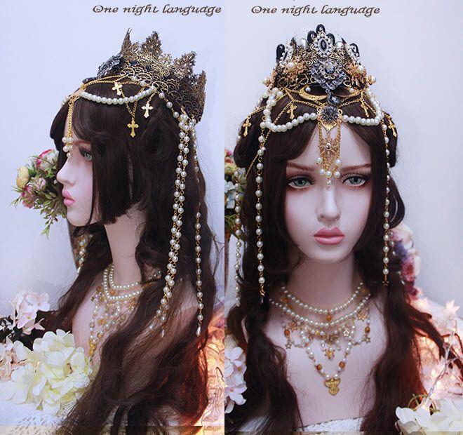 Vintage Girl Halo Crown Headdress Headpiece Headband Hair Accessory Lolita