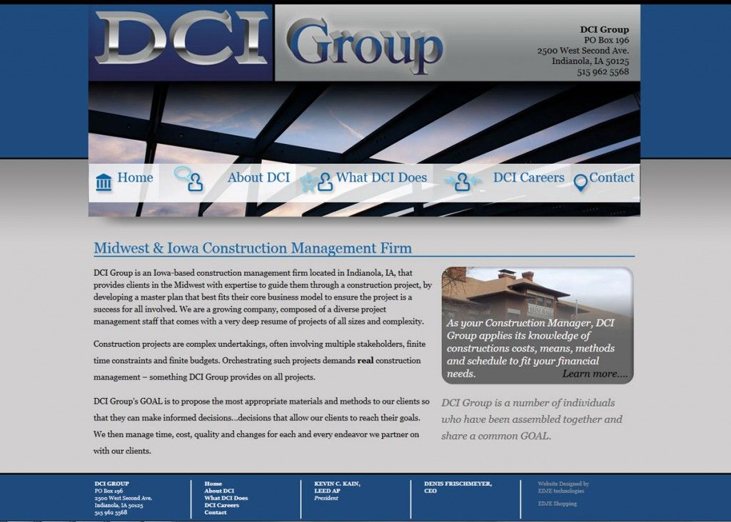 Dci Group Construction Management Blue Gray Grants Bold Blocks Icons