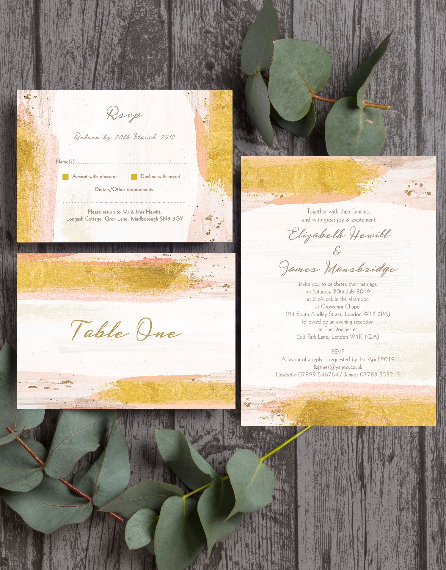 Beautiful blush pink and gold wedding stationery, with a modern ...