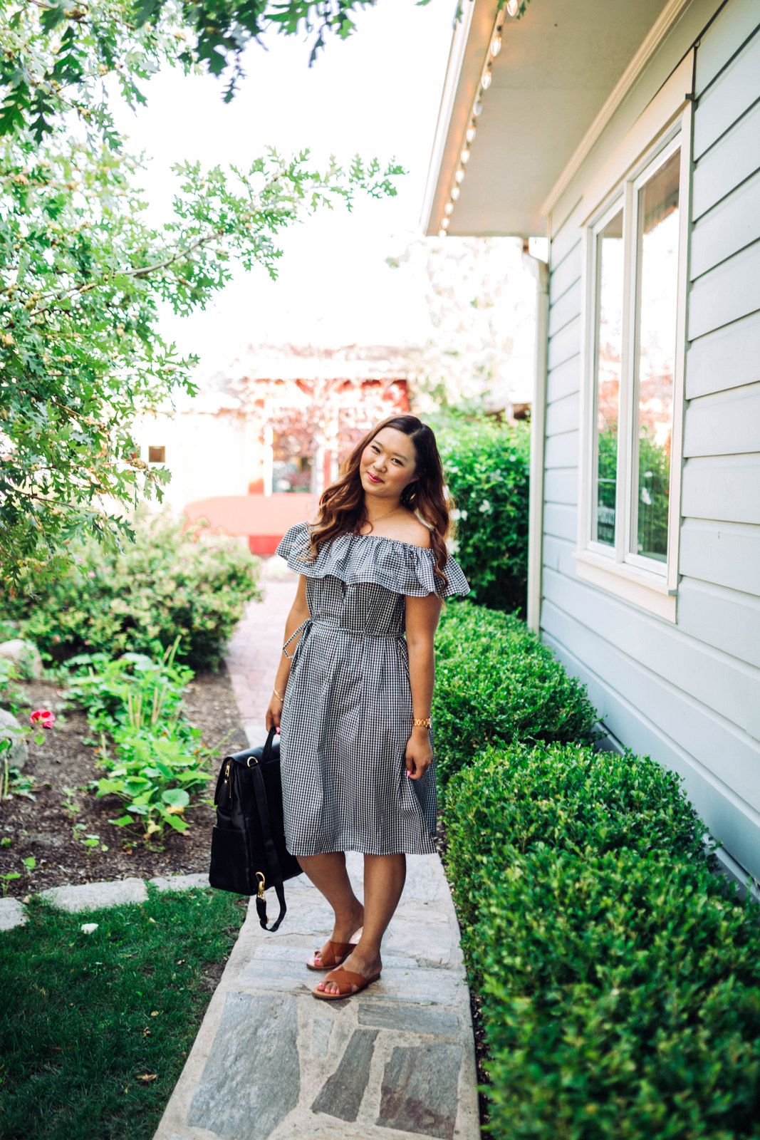 ca547950888 Mommy and Me Outfits  Off The Shoulder Gingham Dresses by Utah fashion  blogger Sandy A La Mode