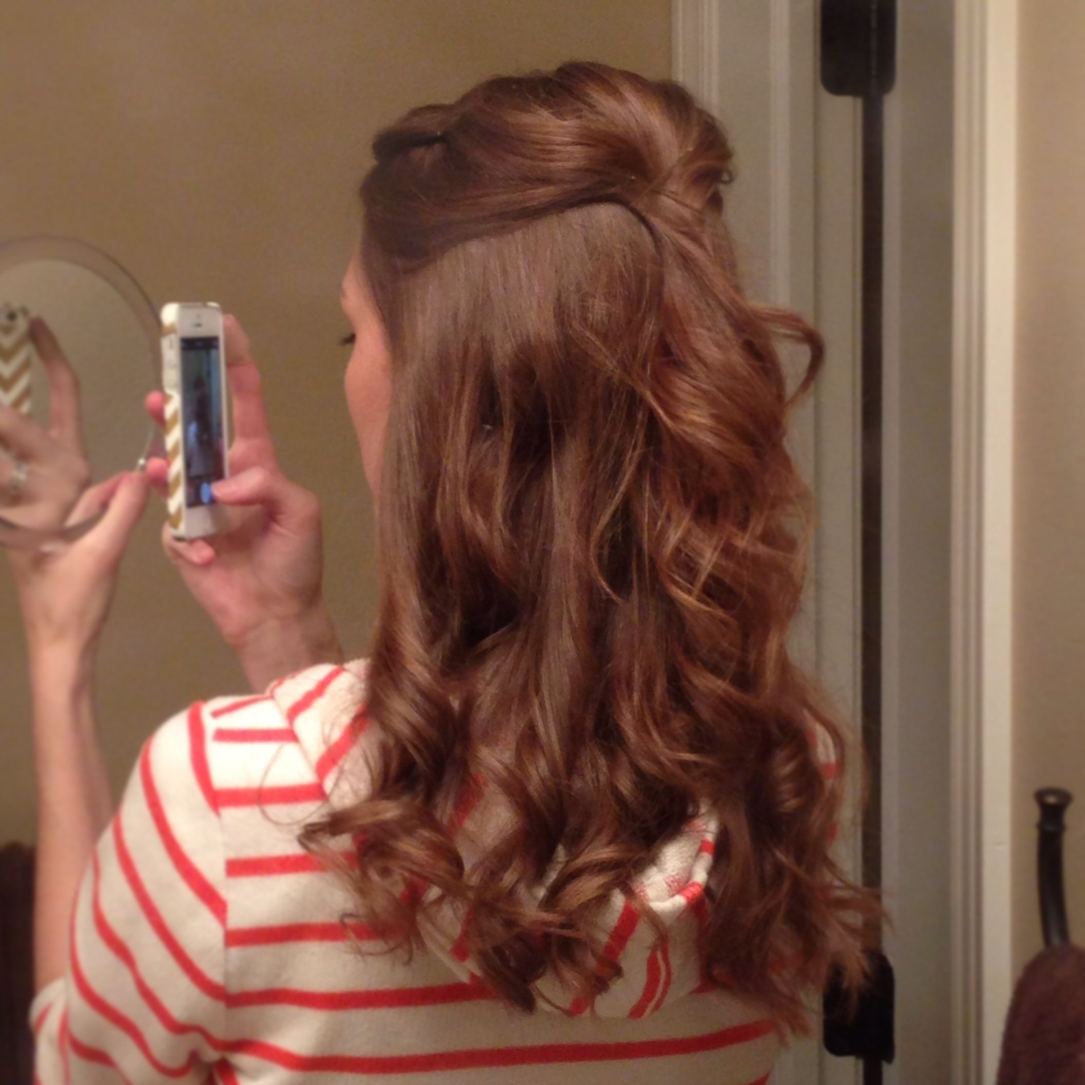 Half up with flatiron curls.   Cute hairstyles, Cool ...