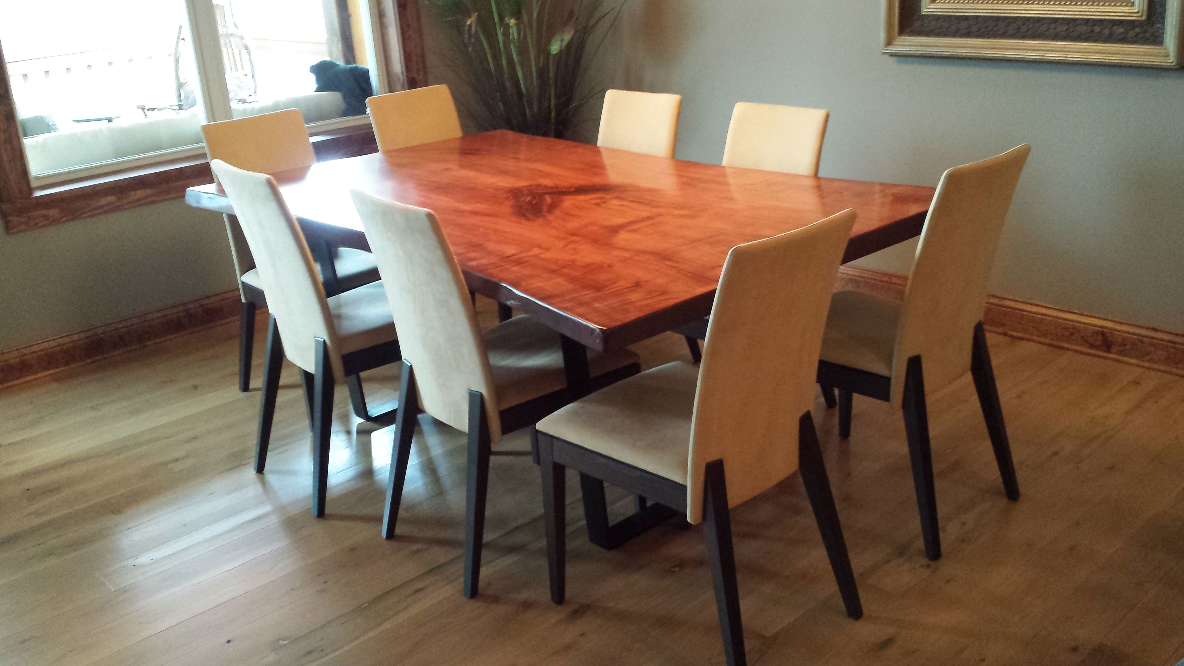 Maple Live Edge Table With Mahogany Stain And Steel U Base With