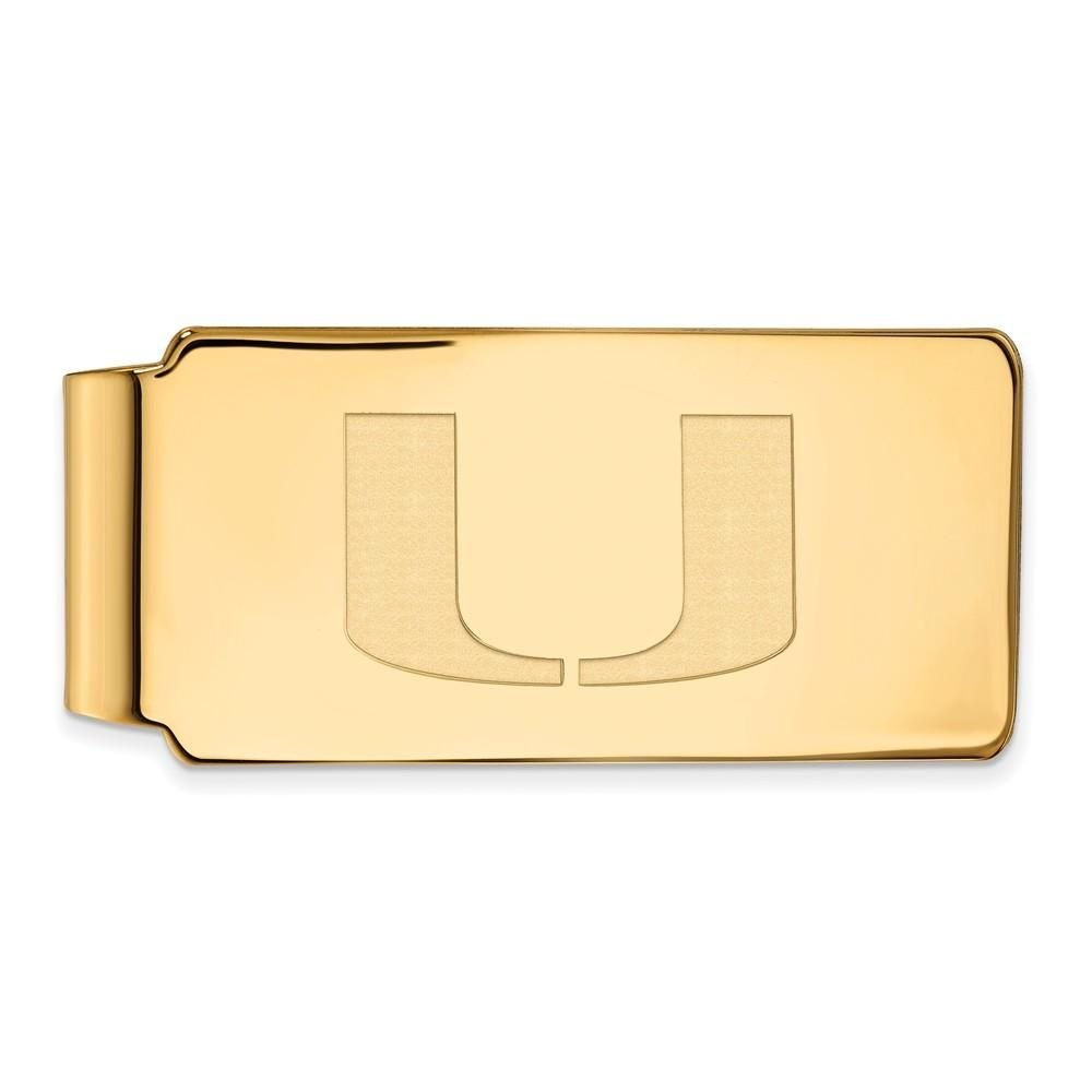 UM Sterling Silver w// 14K Yellow Gold-Plated LogoArt Official Licensed Collegiate University of Miami Money Clip
