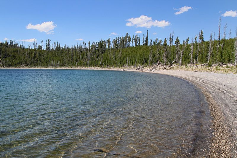 Duck Lake Trail 1.0 Mile Round- trip - Easy. Hike to a wide beach along Yellowstone Lake then after strolling along the beach you'll enjoy a great view of the lake from the highpoint on the return trip