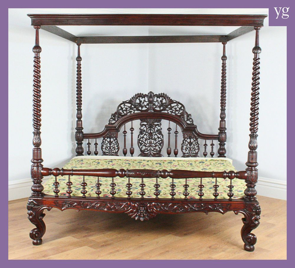 Antique Victorian Colonial Raj Four Poster Post Double