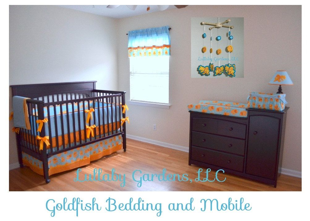 Crib Bedding Toddler And Accessories Whole Nursery 14 Piece Custom Liqued Goldfish Baby In Aqua Turquoise