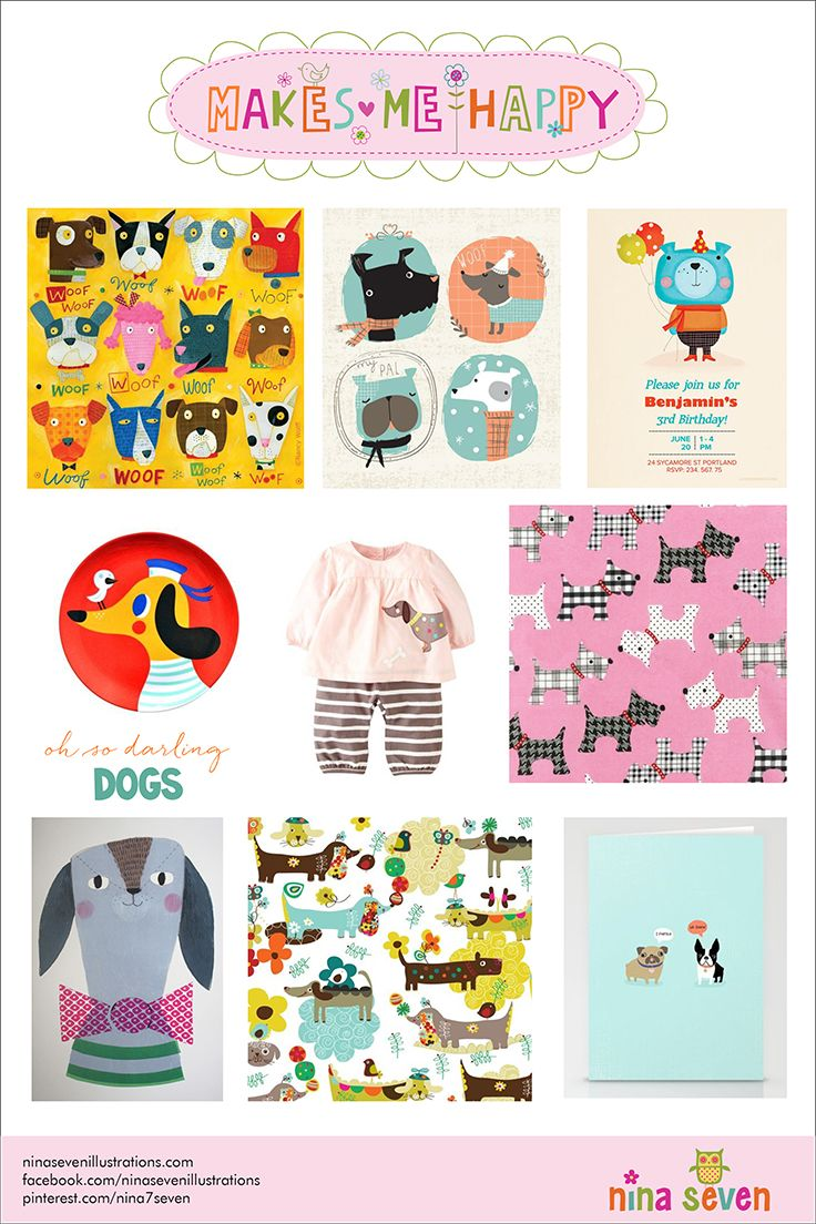 Makes Me Happy Dogs Mood Board by Nina Seven http://ninaseven.blogspot.com/2014/07/makes-me-happy-dogs.html