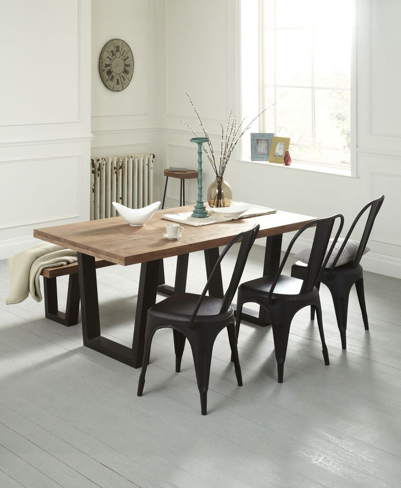 Industrial Style Dining Room Tables: Solid Wood Dining Table Rustic Industrial Style 160cm