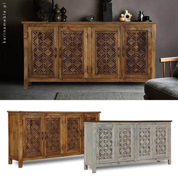 Photo of Indian furniture – a wooden colonial dresser in gray colors …- meble indyjskie…