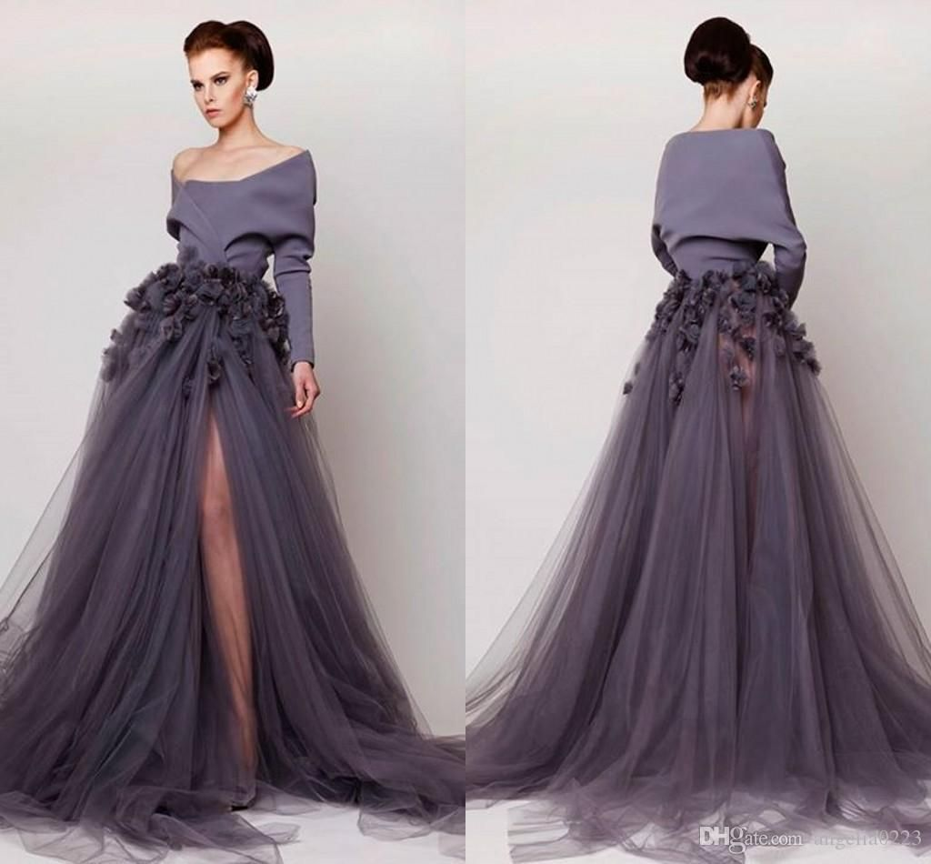 8a3576a6a9 Handmade Flower Arabic Dresses Evening Gowns 2015 Off The Shoulder Long  Sleeves Prom Dresses High Side Slit Evening Dress 2016 Online with   170.42 Piece on ...
