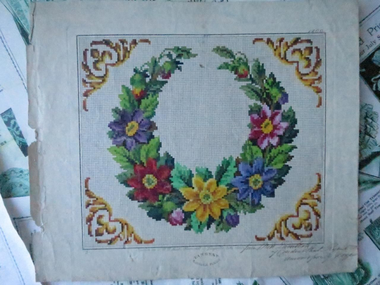 Antique hand painted berlin woolwork embroidery chart lw wittich