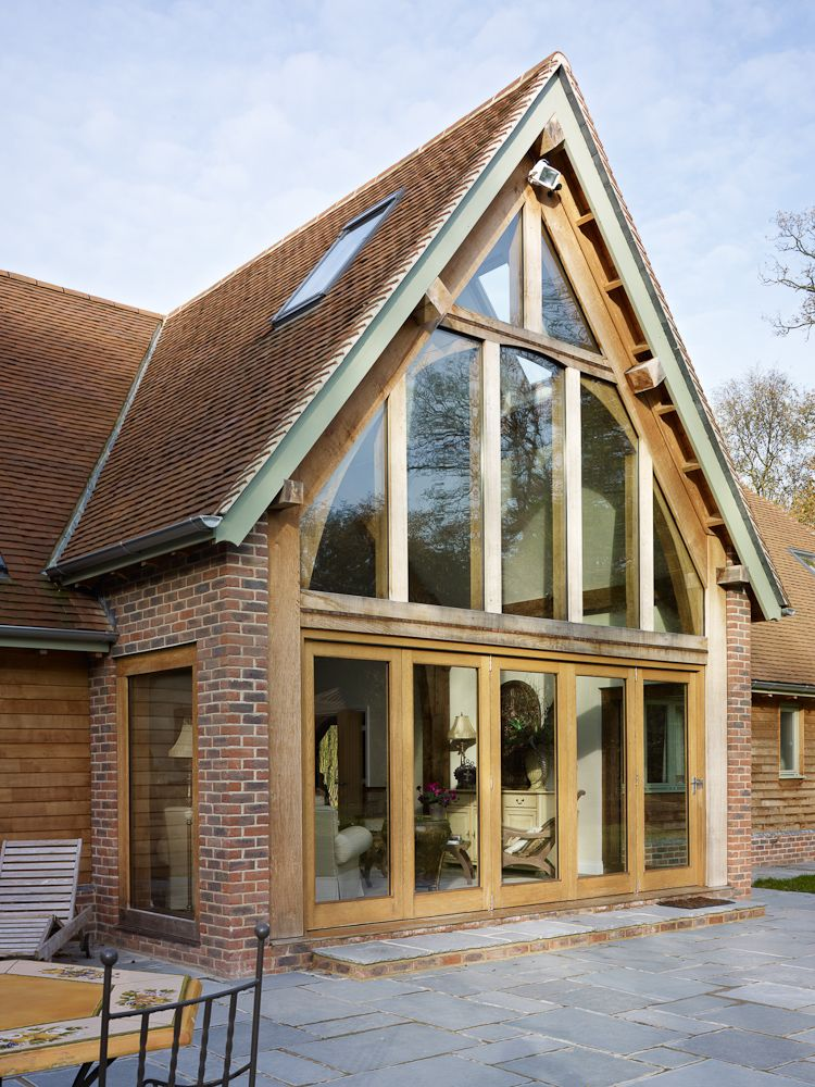 Brick Timber Frame Homes : Border oak large framed glazing element on a barn