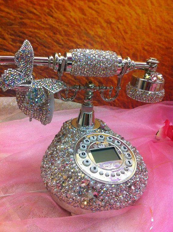 Bling Clic Vintage Telephone Erfly Pearl Handmade W Swarovski Element