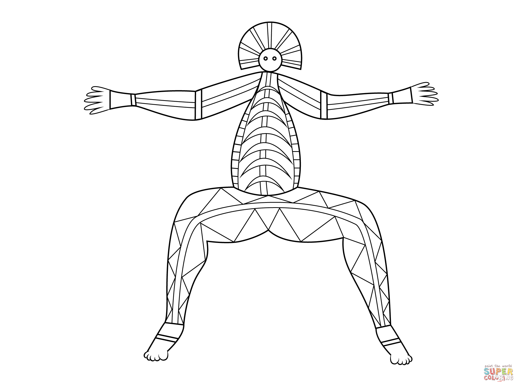 Aboriginal x ray art coloring pages free printable pictures
