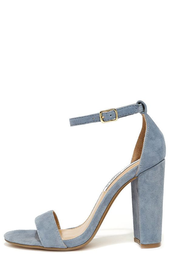 b59ad8cf2df The Steve Madden Carrson Blue Suede Leather Ankle Strap Heels are on fire  with a simple design that is a total knockout! Soft genuine suede shapes a  minimal ...