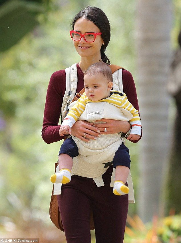 Jordana Brewster held her son Julian close to her chest in a baby sling in Los Angeles