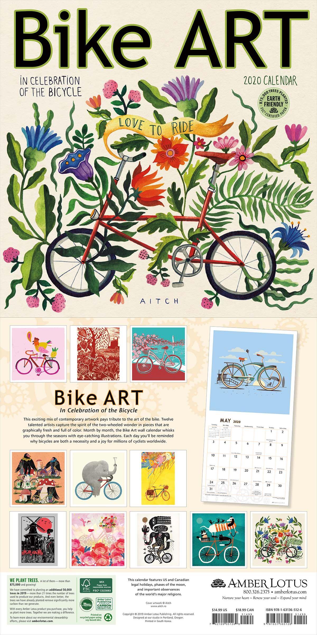 Bike Art 2020 Wall Calendar In Celebration Of The Bicycle Bike Art Wall Calendar Art
