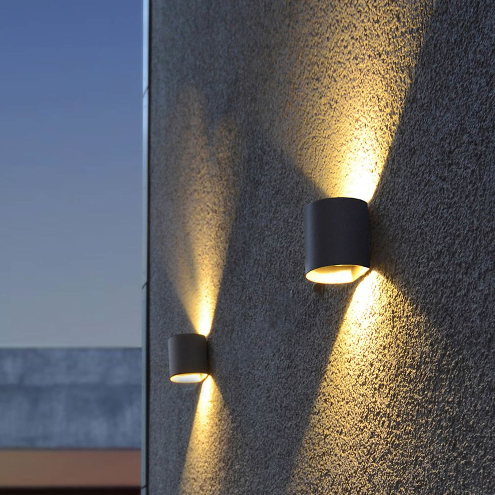 Led Wandleuchte Dodd In Anthrazit W 540lm Ip54 Rund In 2020 Led Wall Lights Sconces