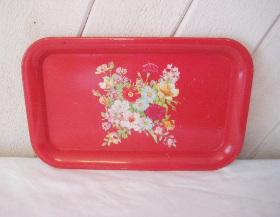 Bright red floral tray small tray mid century by EndlesslyVintage