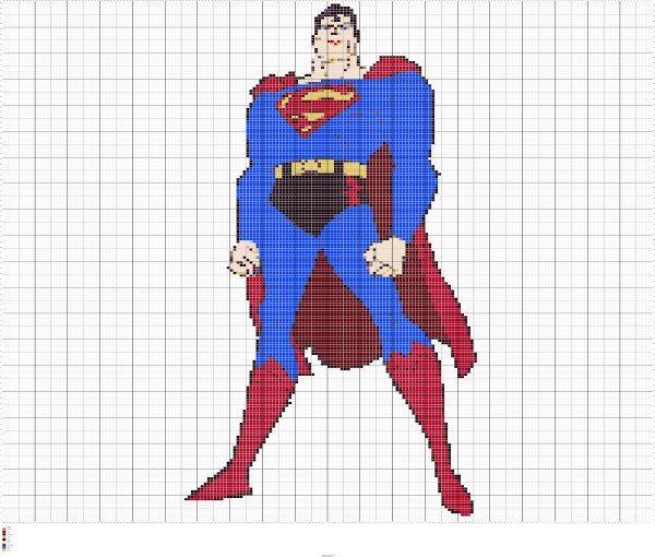 Knit Superman Intarsia Knitting Chart, Superman Knitting Graph ...