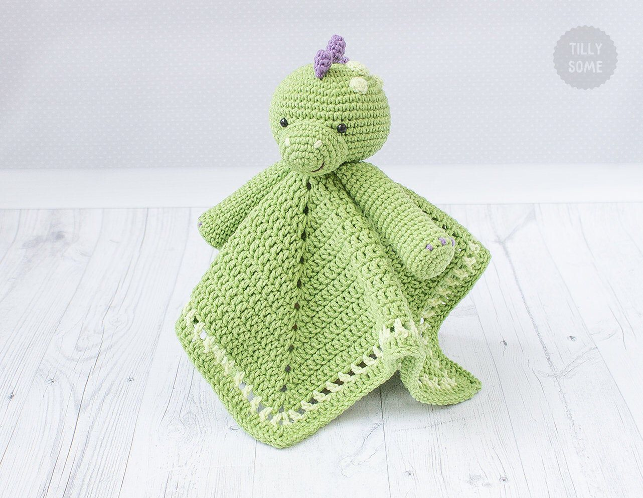 Crochet Pattern Security Blanket Din the Dino Lovey   Security Blanket Pattern   Crochet Lovey Pattern   Baby Animal Blanket — PDF Crochet