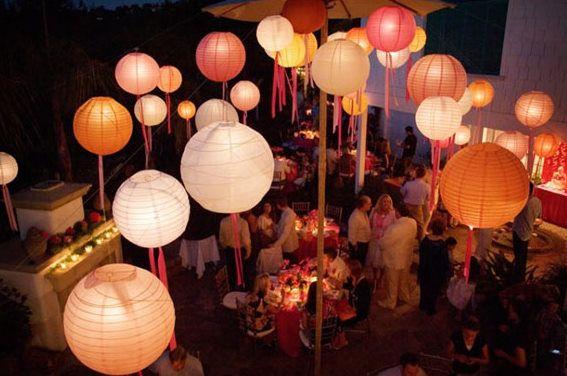 Luzinhas e lanternas na decoração