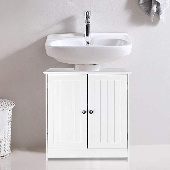 Amazon Com Ssline Under Sink Vanity Cabinet Free Standing Bathroom Sink Cabinet With Pedestal Hol Tiny Bathroom Storage Bathroom Sink Storage Cupboard Storage