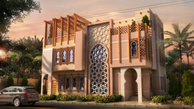 Modern Andalusian Style House In Saudi Arabia Designed