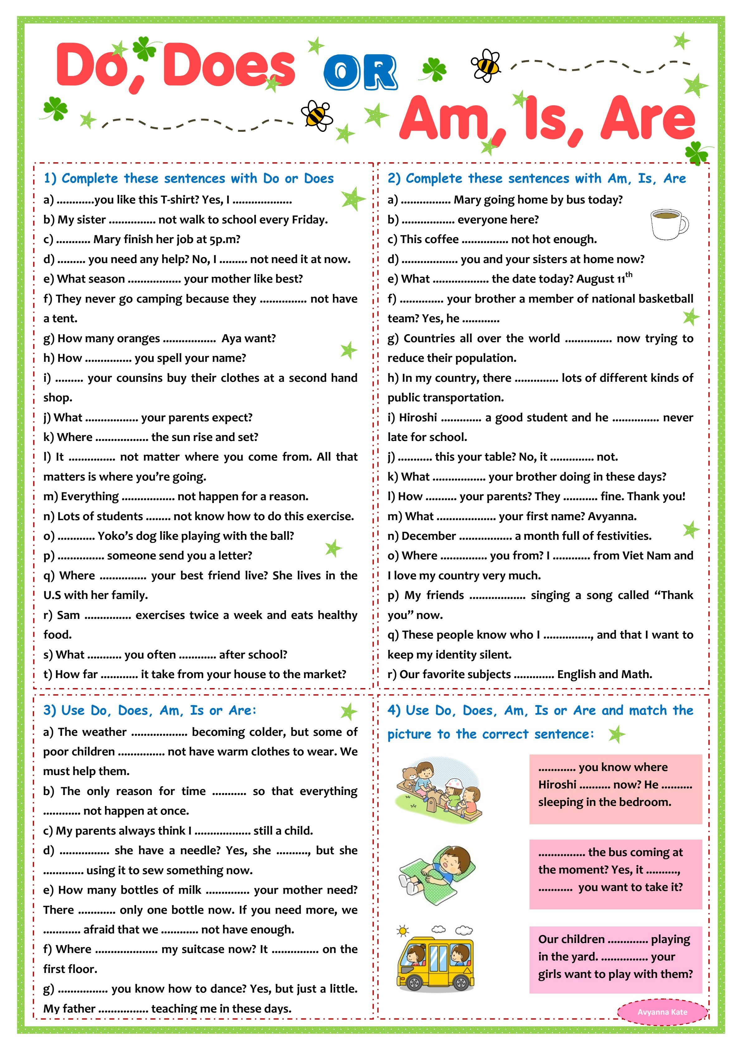Practice Do Does And Am Is Are Printable Sheet In 2020 English Grammar Exercises English Grammar For Kids Grammar For Kids