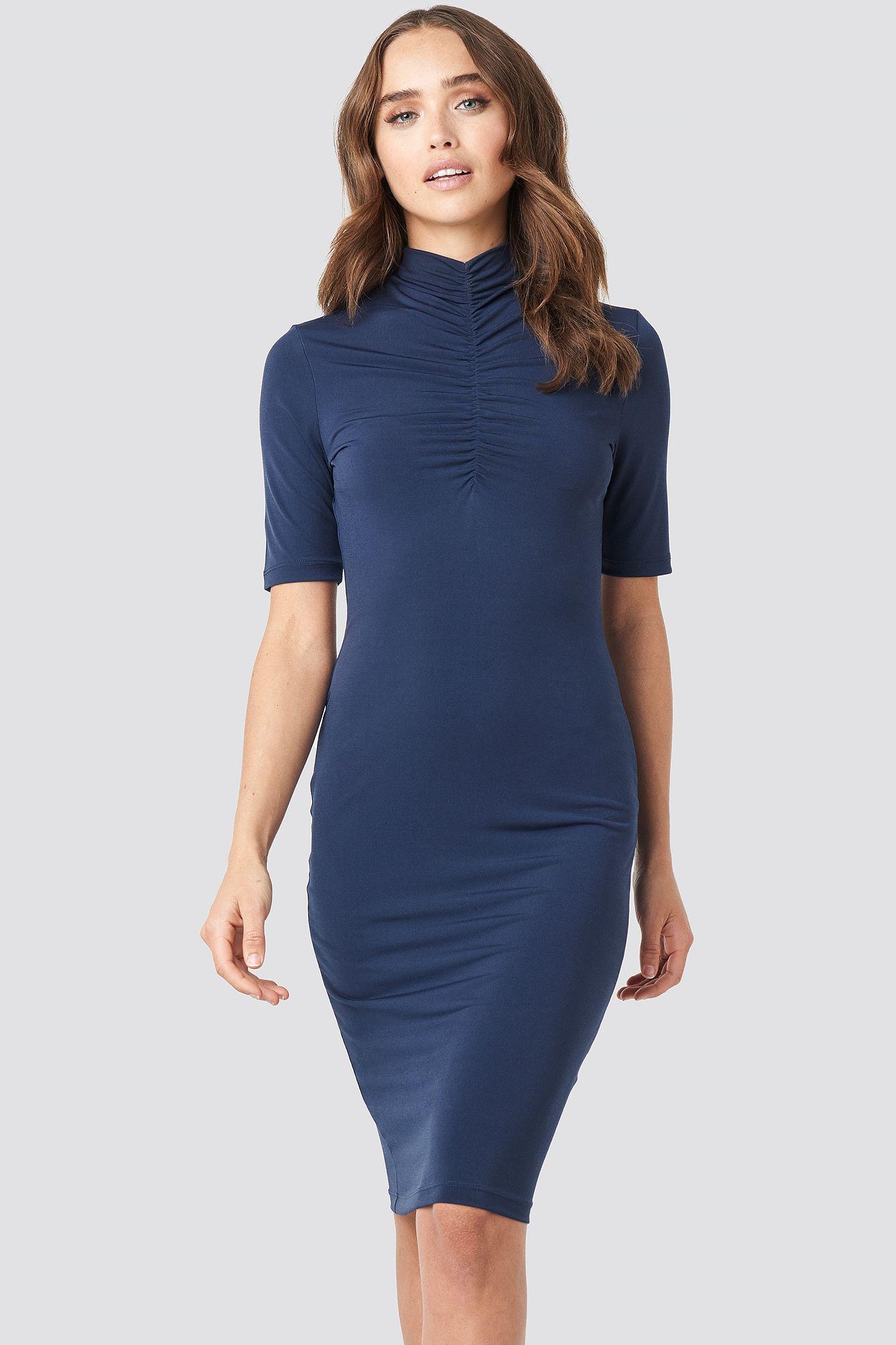 Front Ruching Dress Blau