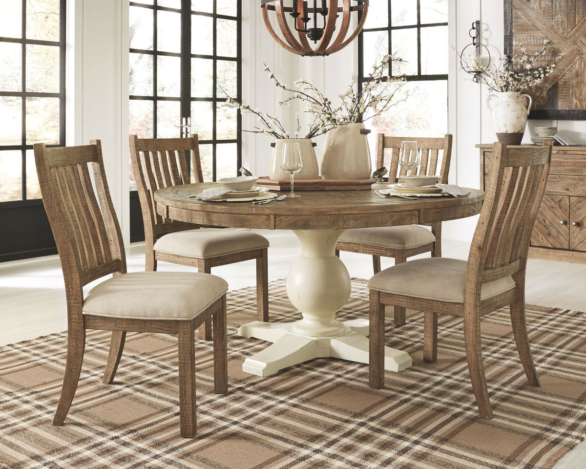 Grindleburg Light Brown 6 Pc Round Drm Table Top 4 Uph